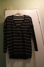 Vince Gray Striped Lightweight Thin V-Neck Long Wool Blend Sweater Sz XS