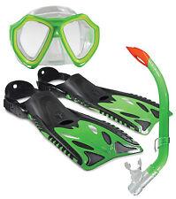 NIPPER KIDS SNORKELLING SET Children's Mask Snorkel Fins/Flippers Lime Blue Pink