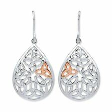 Purity Sterling Silver & Rose Gold Plated Filigree Celtic Design Drop Earrings