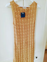 Principles FAB GOLD SEQUIN SPARKLY EVENING PARTY crochet gold DRESS SIZE 12 BN *