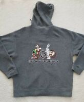 Vintage Warner Bros Mens Grey Embroidered Looney Tunes Hoodie Sweater Size: L