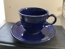 Homer Laughlin Fiesta Ware Navy Blue Tea Cup and Saucer #2