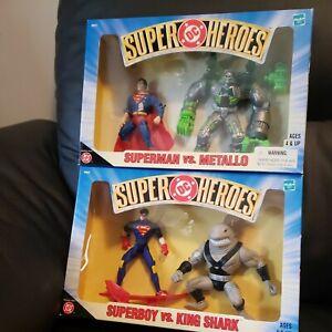 DC Super Heroes - Superboy vs King Shark, Superman vs Metallo Hasbro 1999 - NEW