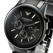 NEW GENUINE EMPORIO ARMANI AR1452 DIAL 43MM BLACK CERAMIC MATTE MEN'S WATCH UK