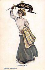 C67/ Gordon Artist Signed Postcard College Girls Pennant 1908 Princeton Girl 9
