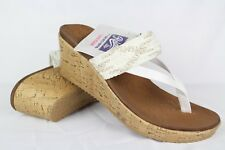 New Skechers Women's Beverlee Endless Summer Wedge Slide Sandals 8 White # 38533