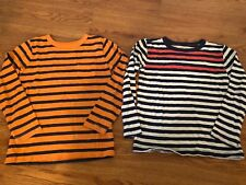 2 boys CREWCUTS SHIRTS LOT striped L/S orange navy CASUAL nice! casual SIZE 4/5