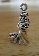 Sterling Silver 24x15mm Girl Carrying Holding a Kitten Cat w/ Open Present Charm