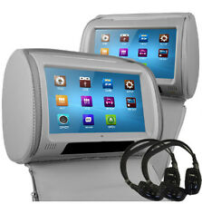 "9"" Grey Leather-Style Car DVD Headrests with HD-Screen/SD/USB 2 x IR Headphones"