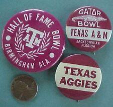 1950-70s Era University of Texas A & M Aggies 3 Pin set-Gator-Hall of Fame Bowl!