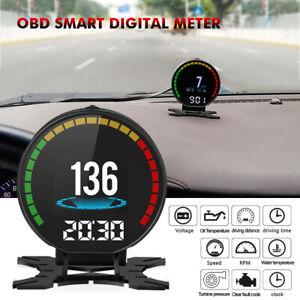 OBD2 Speedometer Smart Digital Meter Car Hud Head Up Display Overspeed RPM Alarm