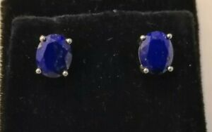 Sterling silver stud earrings with facet cut lapis lazuli stone