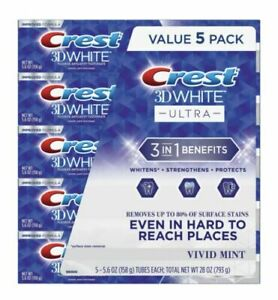 Crest 3D White Ultra Whitening Toothpaste - Vivid Mint Flavor - 5.6oz 5-Pack