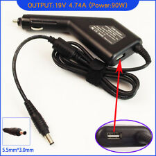 Laptop DC Adapter Car Charger + USB for Samsung NP-R520-XA01 NP-R520-XA01RU