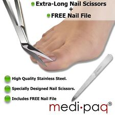 TOE NAIL Scissors + Nail File - EXTRA LONG Handle Pedicure Manicure Chiropody