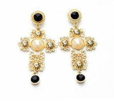 E604 Betsey Johnson Cross Crucifix Victorian Gold / Black Rhinestone Earrings UK