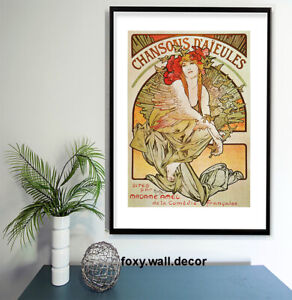 """Vintage print poster for glass frame 36"""" x 24"""" art deco France French lady"""