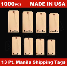 1000 Manila 13 Pt Inventory Shipping Hang Price Tags Pre Wired 12345678