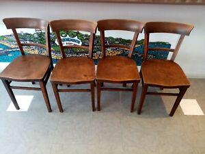 Set 4 antique FISCHEL bentwood wooden wood chair chairs ' after Michael Thonet '