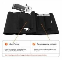 2X Hunting Pistol Belly Band Waist Belt Handgun Holster Dual Mag Pouch Black
