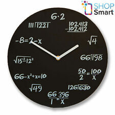 MATH EQUATION BOARD WALL CLOCK BLACK MODERN ROUND HOME OFFICE NOVELTY GIFTS
