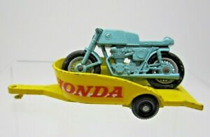 Vtg 1960s Matchbox Lesney #38 Honda Motorcycle and Trailer Yellow and Blue