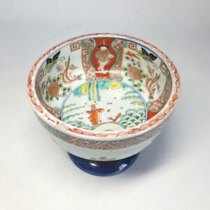 D0918: Japanese old IMARI colored porcelain HAISEN bowl with very good painting