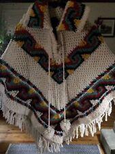 Vintage Hand Crochet Poncho Cape Shawl Capelet Yarn