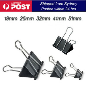 12 x PCS Foldback Fold Back Clips Black 19mm 25mm 32mm 41mm 51mm Bulldog Clip