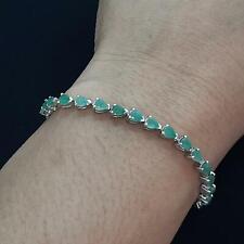 World Class 5.70ctw Colombian Emerald 925 Sterling Silver Bolo Bracelet 6.7g