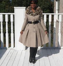 Unique Designer Beige wool &Spotted  print mink fur Coat Jacket S-M 2-8