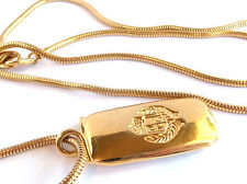 LC LIZ CLAIBORNE SNAKECHAIN NECKLACE WITH LC EMBLEM&INITIALS ESTATE JEWELRY NICE