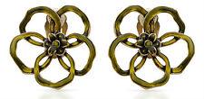 NEW PILGRIM DENMARK Golden Clip Earrings Green Enamel Flower w/ Crystals