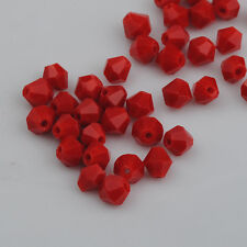 100pcs chinese red exquisite Glass Crystal 4mm #5301 Bicone Beads loose beads'