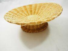 "Vintage Woven Papago Bear Grass & Yucca Design Compote Basket bowl 10.5"""