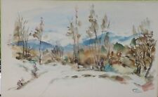 Aquarelle Montagne neige vers 1950 signature?