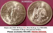 MEXICO. Año ESCASO 1944. 50 Pesos Oro. 41,66 gr. Ley 900/1000. AUTENTICA.