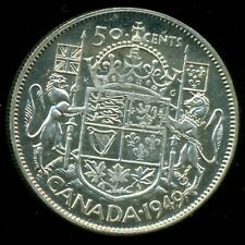 1949 King George VI, Silver Fifty Cent Piece, Lustre   F133