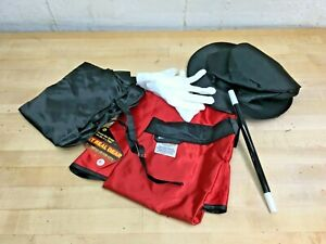 Aeromax Jr. Magician with Cape, Vest, Hat, Gloves, Bowtie and Wand Black/Red