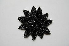 "2-1/8"" Black Pearl Floral Flower Beaded Sequin Applique-BS04B"