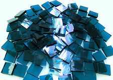 """110 Mosaic Tiles 1/2"""" Royal Blue Smoothie Transparent Stained Glass Stunnng!"""