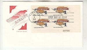 1341 $1 Airlift Plate Block on First Day Cover