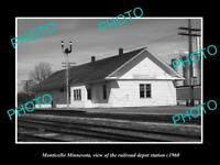 OLD LARGE HISTORIC PHOTO OF MONTICELLO MINNESOTA, THE RAILROAD STATION c1960