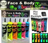 6 x50ml UV NEON  GLOW IN THE DARK FACE & BODY + Free  Mini Blacklight