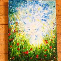 oil painting on canvas landscape Green grass red Flower blue sky clouds colorful