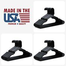 "24 Plastic Hangers Notched Standard Tubular Hanger Lot - 16.5"" BLACK Made in USA"