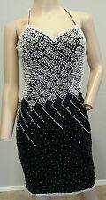 Vtg 80's 90's A.J. Bari Beaded Sequin Pearl Silk Mini Cocktail Party Dress 8