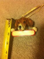 BEAGLE / BASSETT HOUND -CHRISTMAS DOG ORNAMENT--RESIN---FREE SHIP-NEW