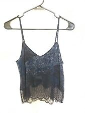 NEW Aritzia Wilfred Sleeveless Cami Blouse Blue Floral Lace Cropped Size XS