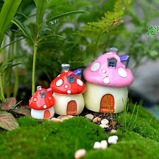 Mini Mushroom House Resin Figurine Craft Plant Pot Fairy Garden Decor Ornament